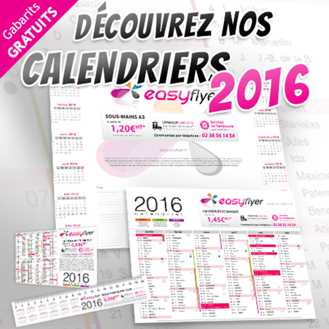 impression calendrier 2016 personnalis easyflyer carte de visite imprimerie en ligne. Black Bedroom Furniture Sets. Home Design Ideas