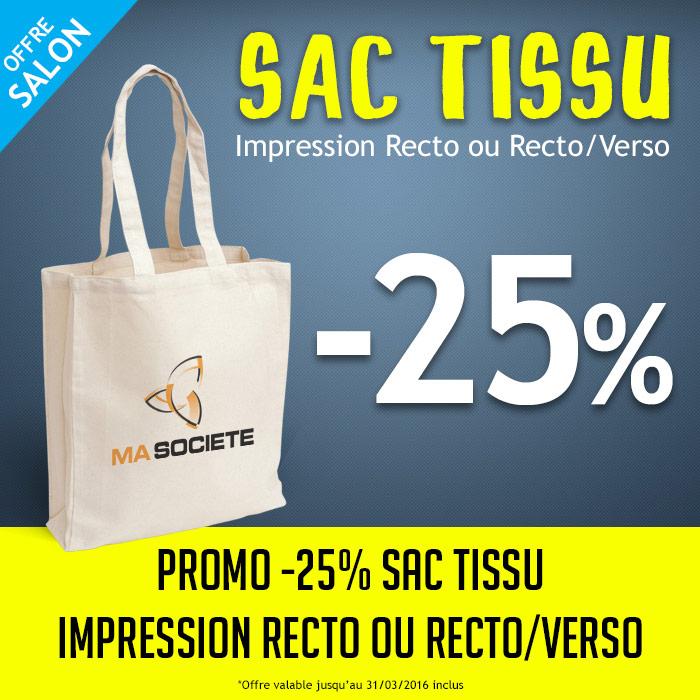 offre promotionnelle -25% sur les sacs en tissu
