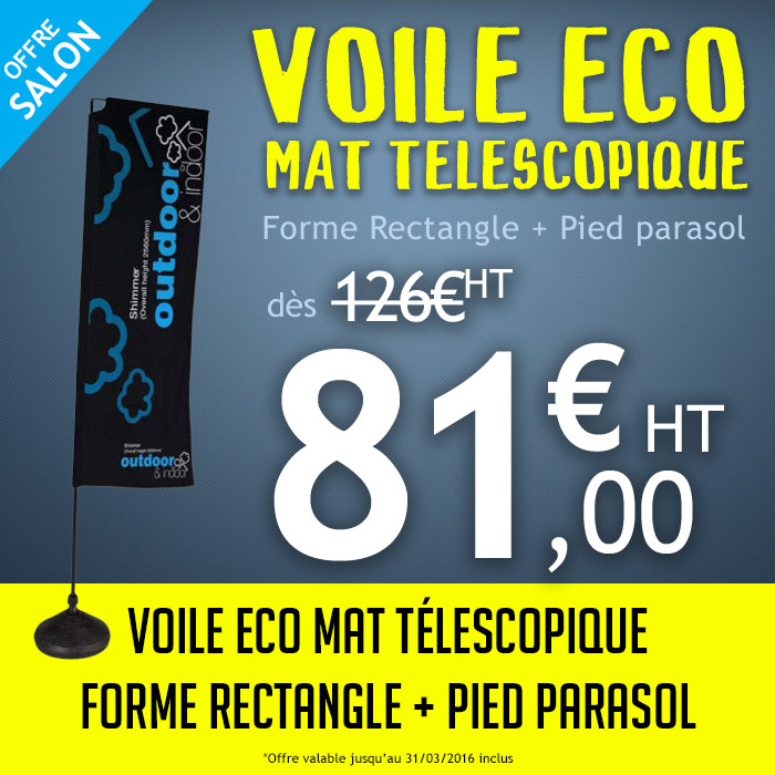Voile Eco Forme Rectangle + Pied Parasol à 81,00€ HT