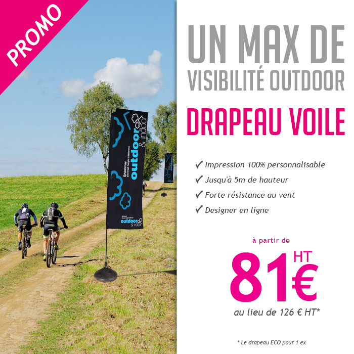 Drapeau voile eco rectangle personnalisable