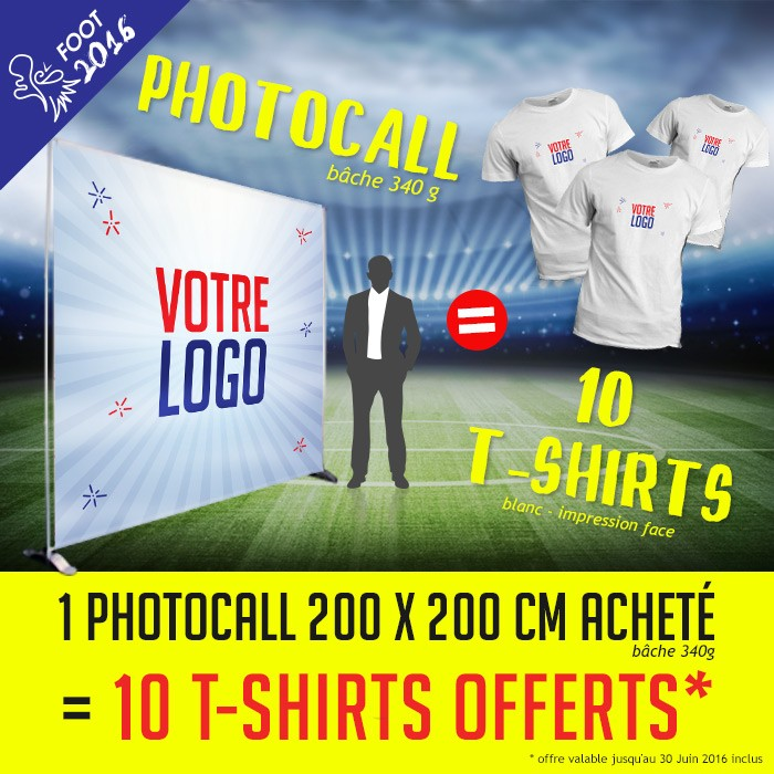 Offre spéciale foot 2016 photocall + t-shirt