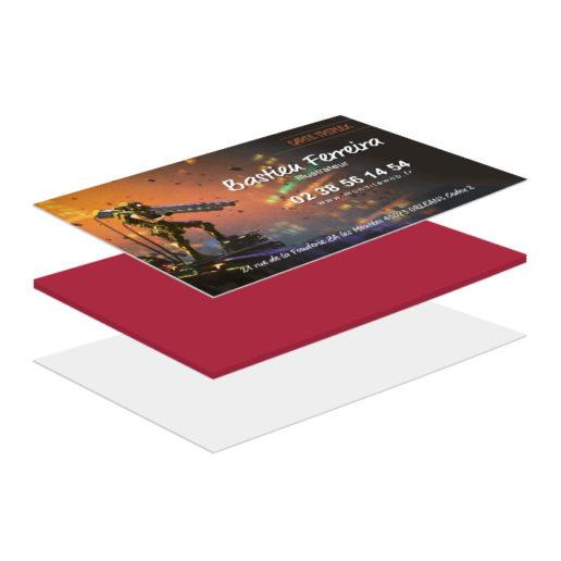 Le contrecollage de la carte de visite à bord rouge