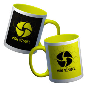 Mug photo personnalisé recto/verso intérieur jaune