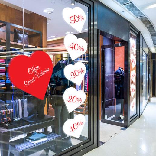 Saint valentin coeur mise en situation vinyle vitrine