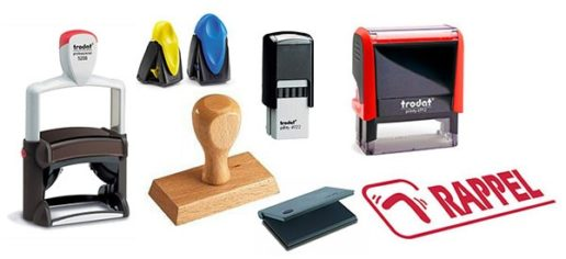 Tampons encreurs personnalisés en bois, plastique et métal