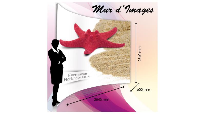 mur d'images stand courbe horizontale Impression Sublimation directe sur Textile Maille