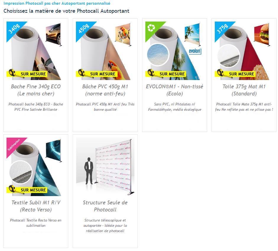 Bâches disponibles pour Photocall personnalisable