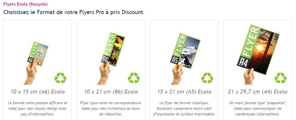 Formats du flyer papier recyclé