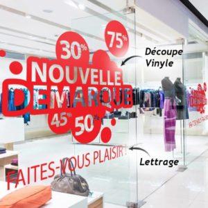 Impression lettrage vinyle adhésif pour vitrines de boutique