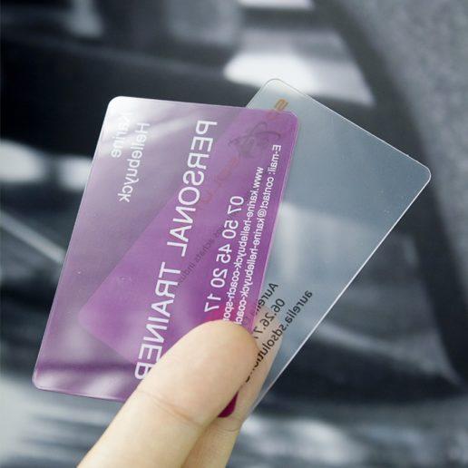 carte affaires transparente avec ou sans blanc soutien