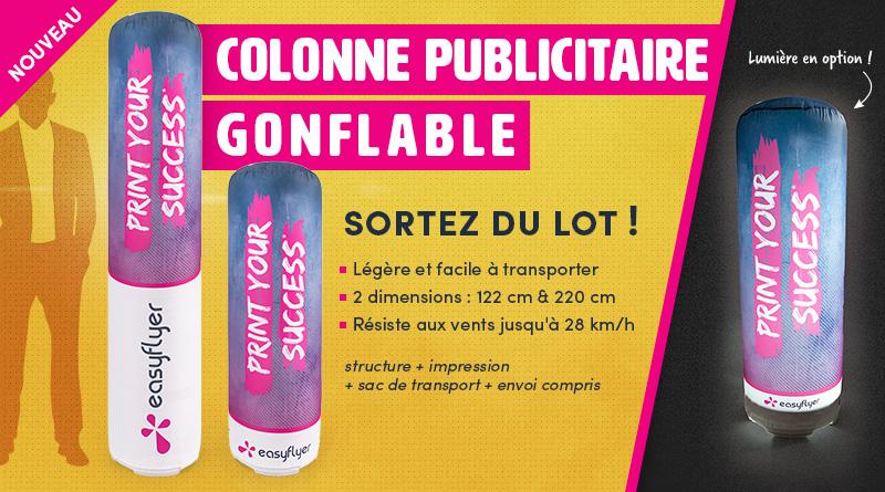 colonne gonflable publicitaire support mobile compact léger rapide à monter