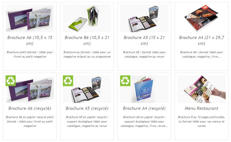 gamme brochures agraphées A6 B6 A5 A4 menu restaurant