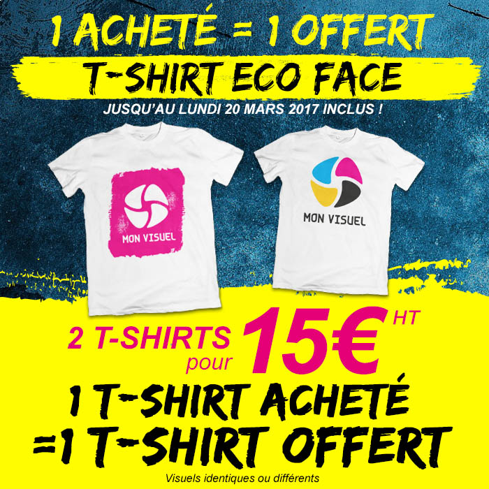 t-shirt personnalisé éco face offre un acheté un gratuit