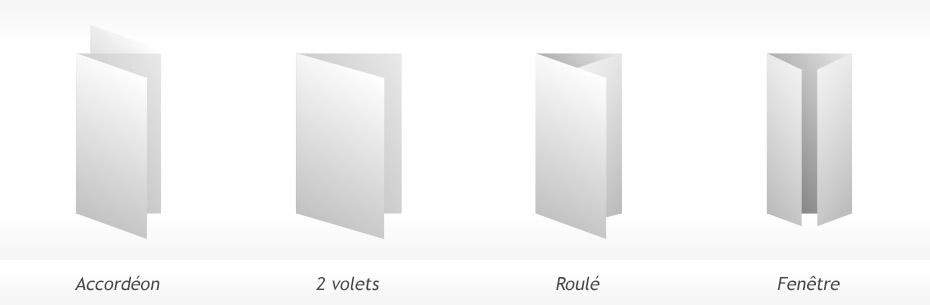 différents plis pour le dépliant publicitaire A4 350g en promotion