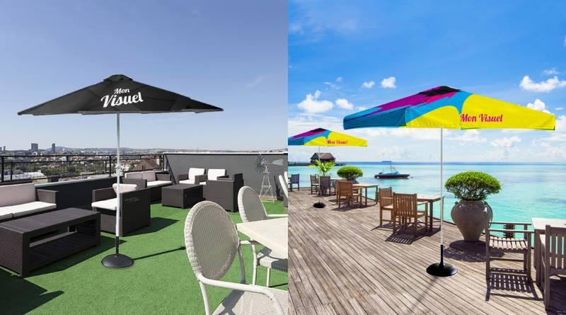 Parasol publicitaire personnalisable pour communication estivale