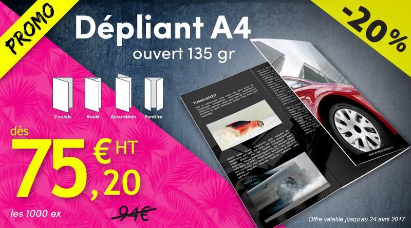 Promo -20% dépliant publicitaire A4 135g