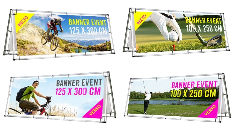 Impression banner event recto verso