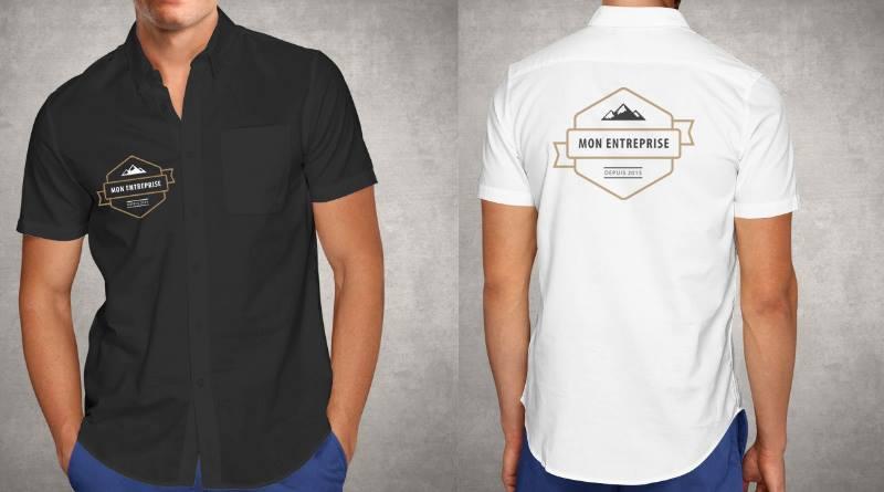 Chemise publicitaire personnalisée avec logo pour salon professionnel