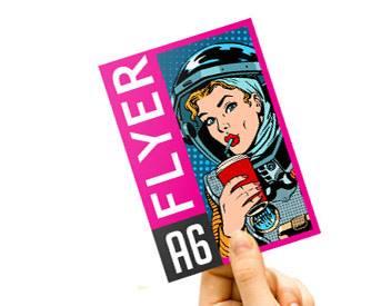 Flyer à disposer sur comptoir avec présentoir en carton pour flyers