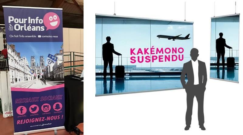 Kakémono suspendu et roll up publicitaire : différences et similarités