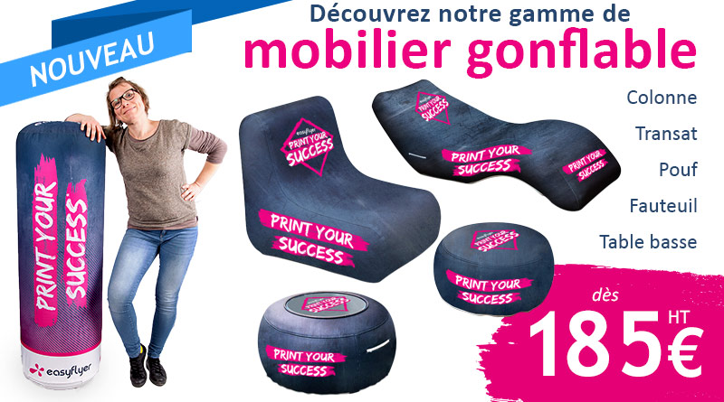mobiliers gonflables personnalisés PLV expo stand