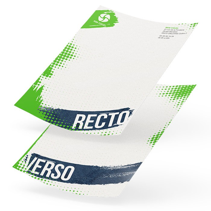 Tête de lettre papier recyclé recto verso