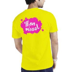 Dos tee-shirt fluo personnalisé