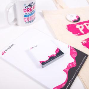 pack bienvenue mug bloc note notes adhésives imprimés