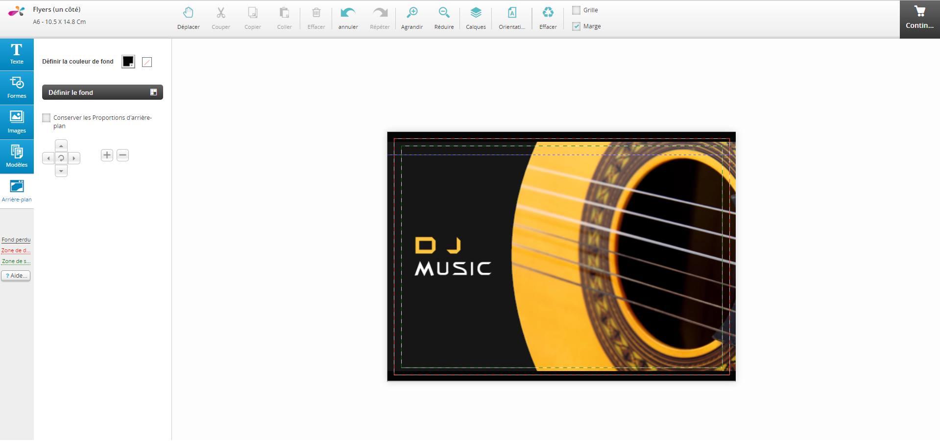 page création flyer en ligne à partir d'un modèle