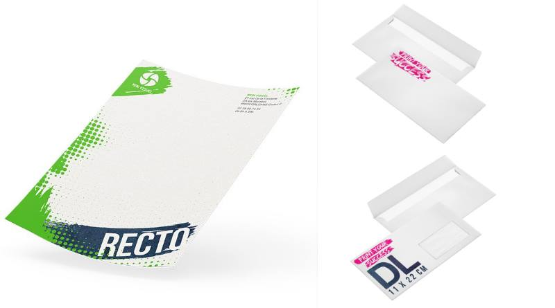 papier à entête personnalisé et enveloppe imprimée