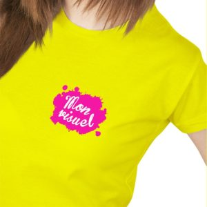 personnalisation cœur tee-shirt jaune fluo femme coureur sportif