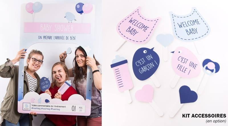 cadre à selfie photobooth baby shower avec kit accessoires