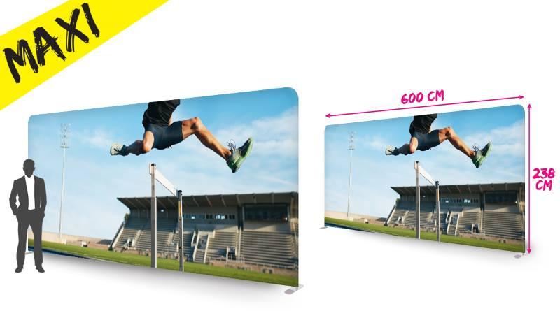 stand plv formulate 6 mètres : mur d'images tissu xxl