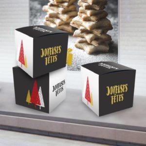 cube carton publicitaire pour décoration de noël pour magasin