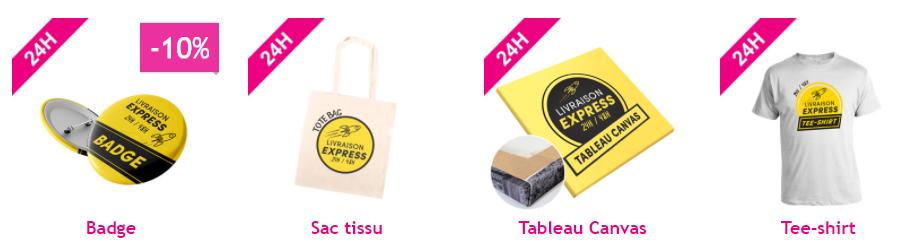 livraison express 24h badge sac tissu tableau canvas tee shirt personnalisés