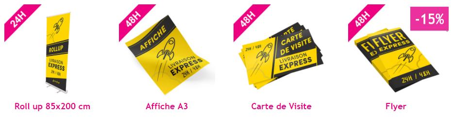 Livraison Express 48h Roll Up Affiche A3 Carte De Visite Flyer