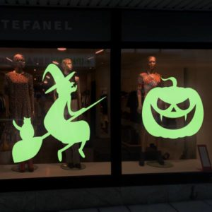 sticker vitrine phosphorescent pour Halloween