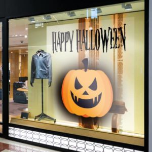 sticker vitrophanie campagne marketing halloween