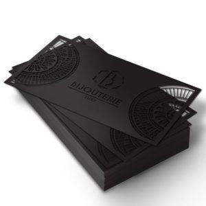 carte d'invitation découpe laser Fedrigoni noir