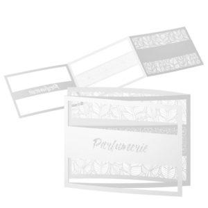 carte volets découpe laser personnalisée raffinée papier blanc