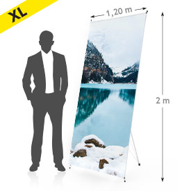 xbanner format 120 x 200 personnalisation expo stand showroom conférence hall entrée