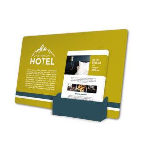 présentoir pour flyers hôtel