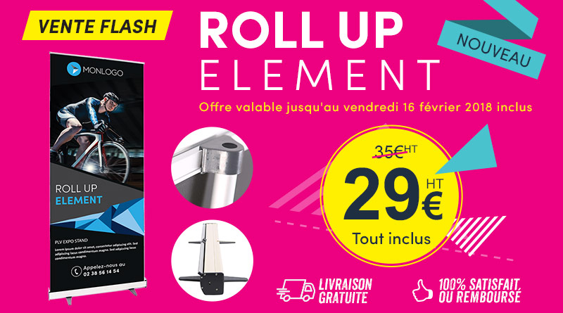 promo vente flash roll up element