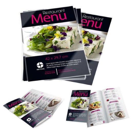 menu personnalisable plastifié