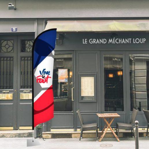 drapeau publicitaire coupe du monde restaurant