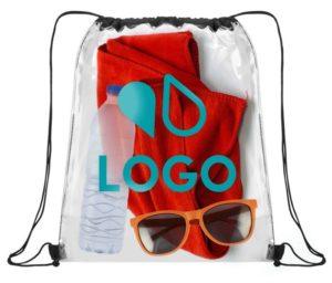 sac cordon personnalisé transparent