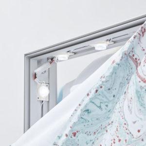 totem textile LED cadre rétro éclairé