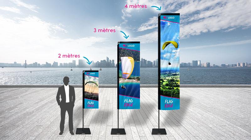 L'oriflamme Edge : un drapeau voile idéal pour une communication indoor / outdoor